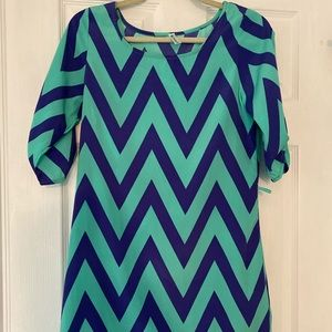 Blue and turquoise shift dress